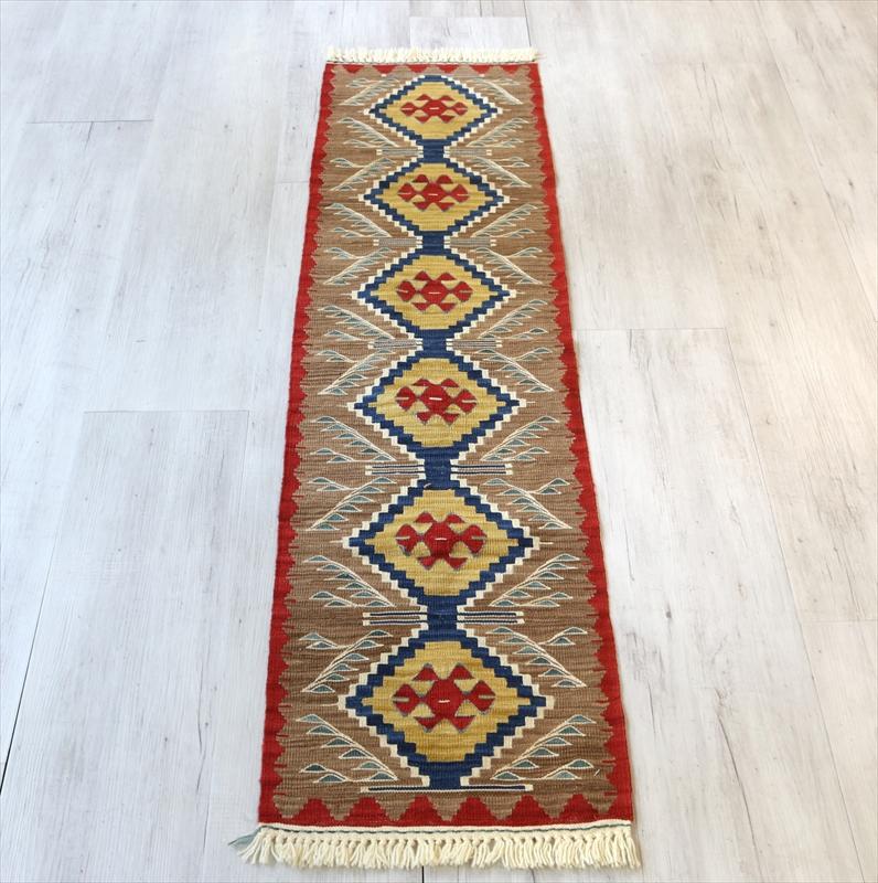 トルコ手織りキリム・ウシャク ランナー148×40cm6つのダイヤのモチーフ