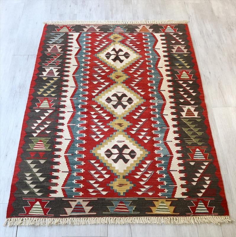 トルコ手織りキリム・ウシャク セッジャーデ168×116cm狼の口のモチーフ