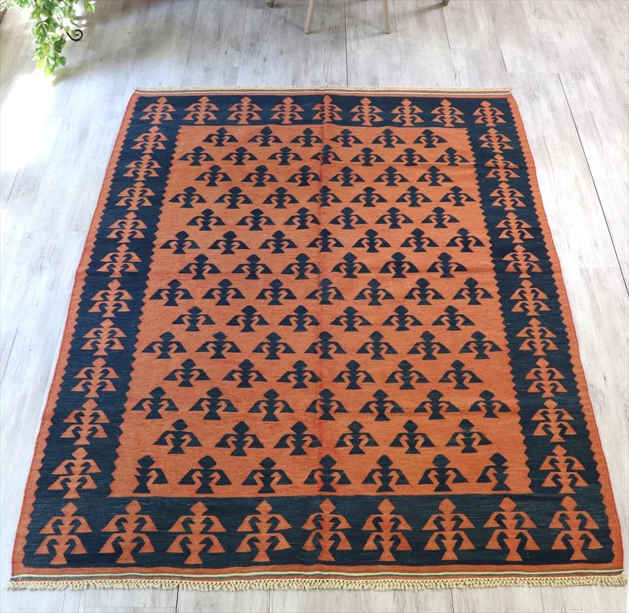 トルコ手織りキリム・カリヨラサイズ シャルキョイ地方の伝統柄218×160cm色褪せたレッド&ネイビー