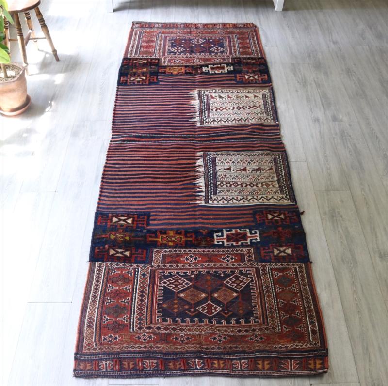 オールドキリム・バクティアリ族のキャメルバッグ276×96cm細かなスマック織り