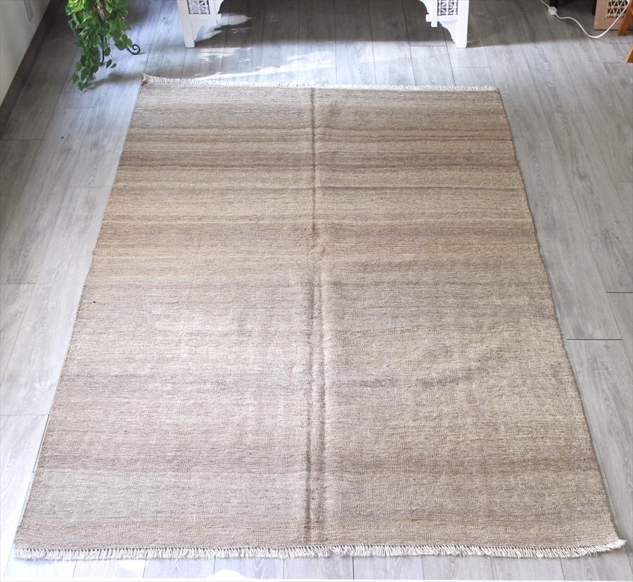 シラーズ・カシュカイ族のキリム/カリヨラ248×165cmナチュラルベージュ 無地
