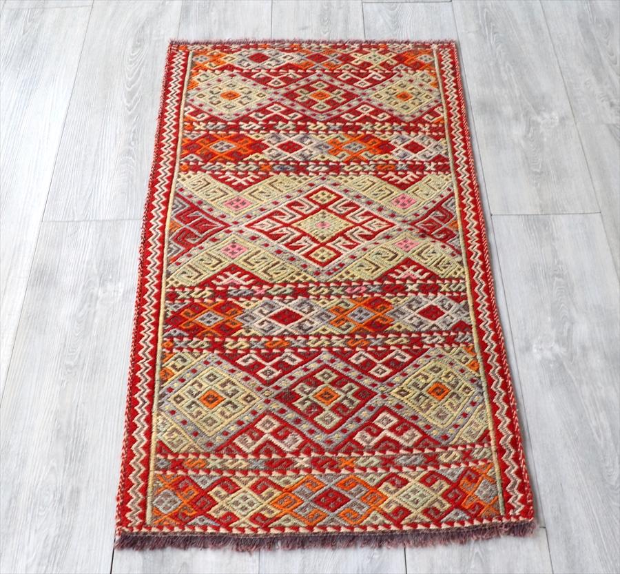 オールドキリム・マラシュ ヤストゥク110×56cm暖色系の華やかなジジム