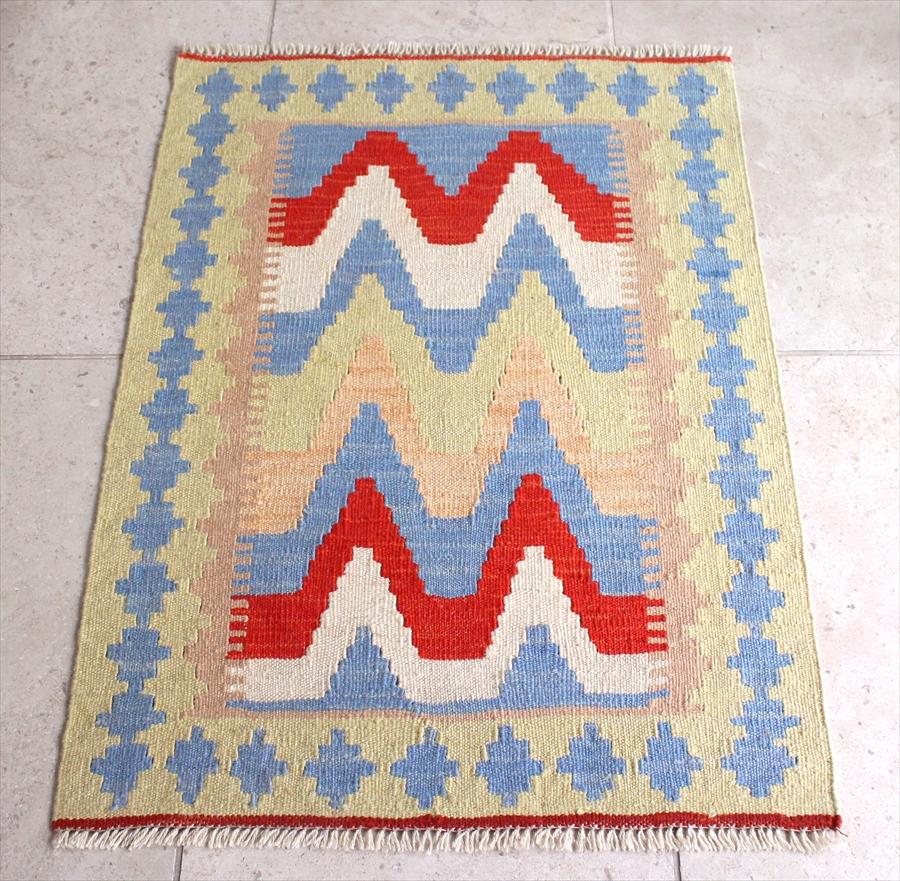 カシュカイ族の手織りキリム/ウール100%・シラーズ 90×65cm玄関マットサイズ