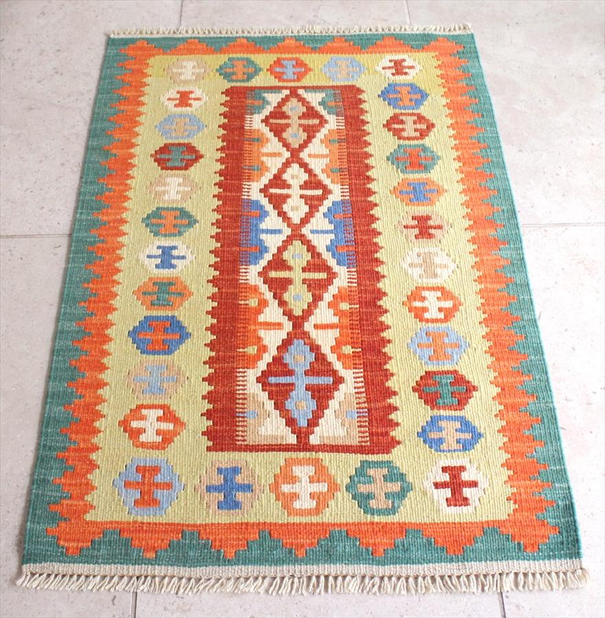 カシュカイ族の手織りキリム/ウール100%・シラーズ 95×64cm玄関マットサイズ