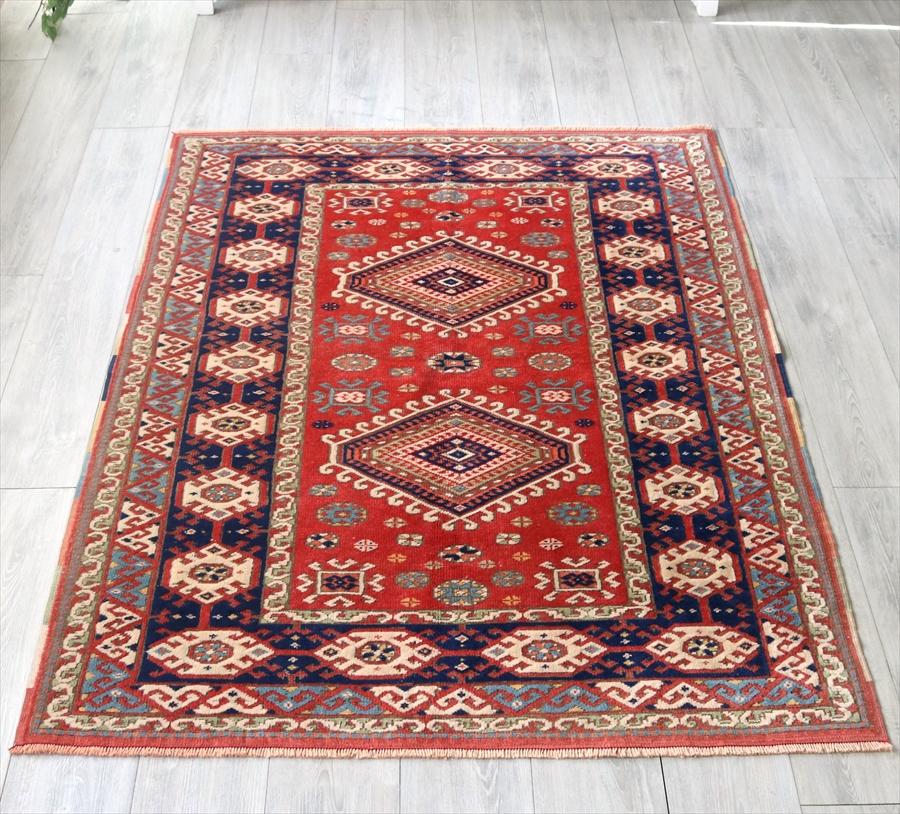 オールドカーペット・ベルガマ トルコ絨毯・セッヂャーデ175×128cm2つのドラゴン レッド/ネイビー