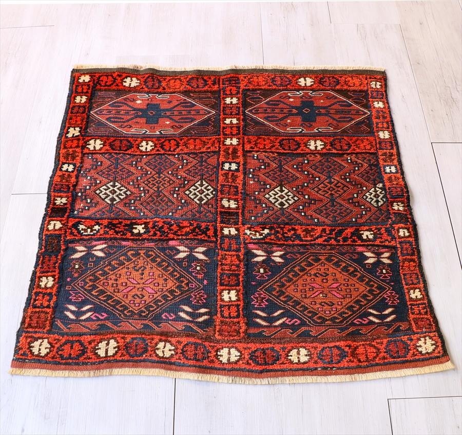 オールドキリム シールト/スマック織りとパイル織り93×94cm6つのサンドゥック