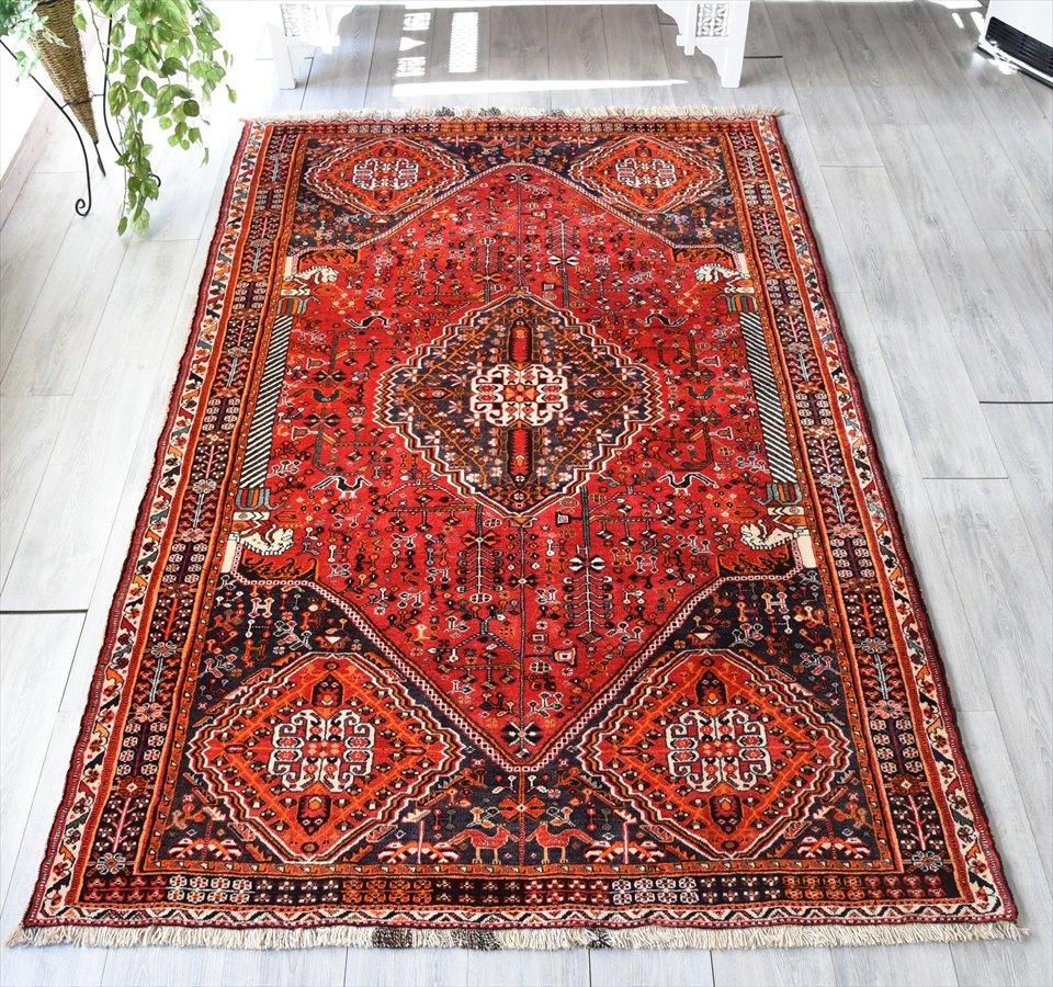 シラーズ・カシュカイ族のじゅうたん/オールドカーペット248×152cm六角形の赤いメダリオン/馬のコラム