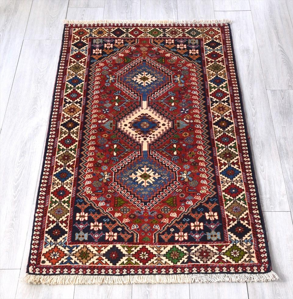 トライバルラグ・部族絨毯/イラン南部ヤラメ Yarameh チェイレキ136×80cmアクセントラグ/細かな爪を持つ3つのドラゴンモチーフ