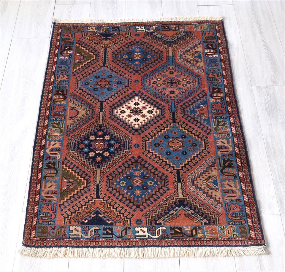 トライバルラグ・部族絨毯/イラン南部ヤラメ Yarameh チェイレキ120×83cmアクセントラグ/細かな爪を持つ連続するドラゴンモチーフ