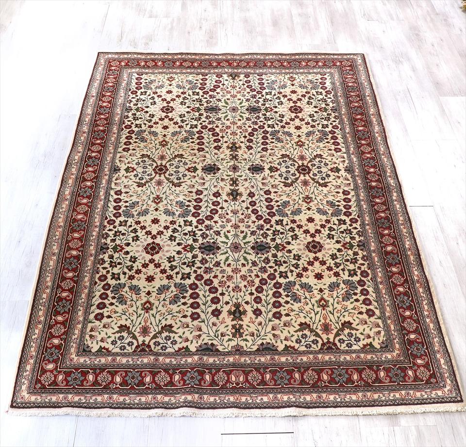 ヘレケ・トルコ絨毯 ウール製の手織り絨毯227×152cmフラワーガーデン・アイボリー/レッド