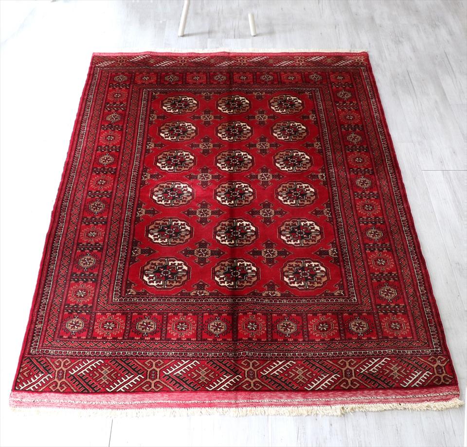 部族絨毯 トライバルラグ 中央アジア・トルクメン族190×138cm連なるギュル