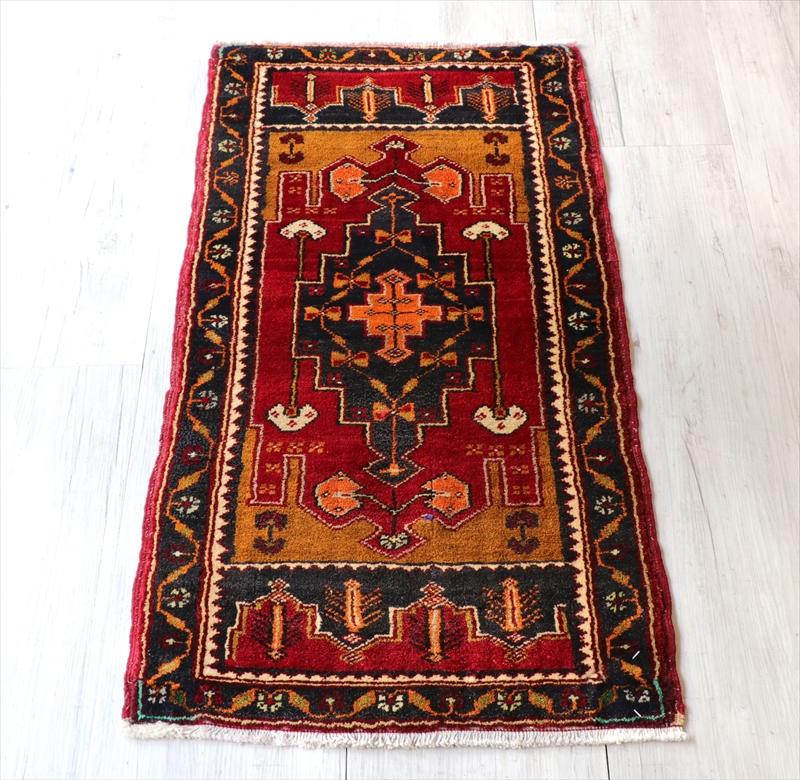 オールドカーペット トルコ絨毯/ヤストゥク94×50cmシワス地方 階段状のメダリオン