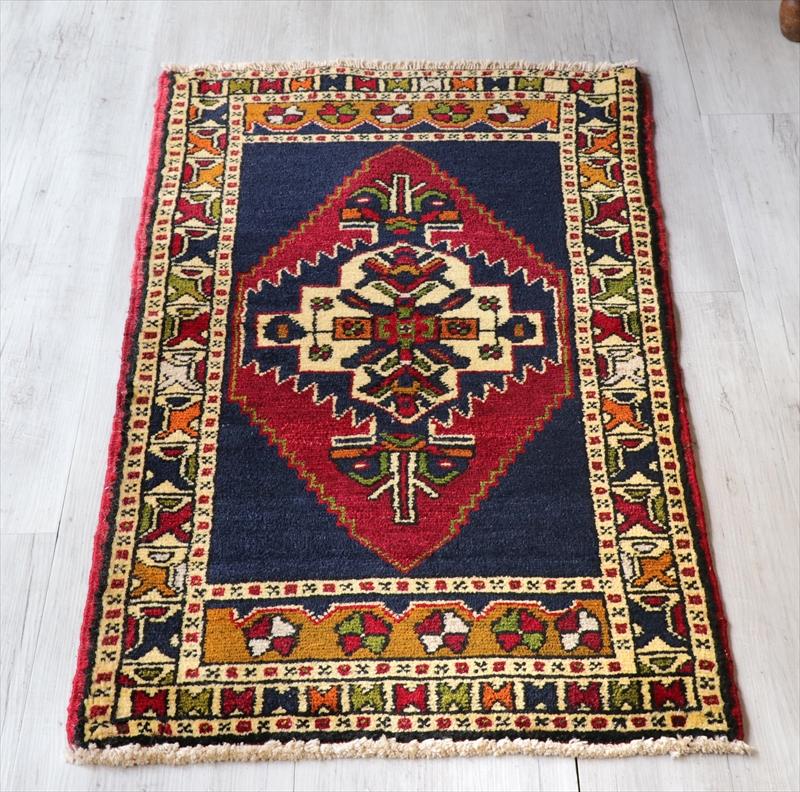 オールドカーペット トルコ絨毯/ヤストゥク101×56cmコンヤ レッド&ネイビーブルー