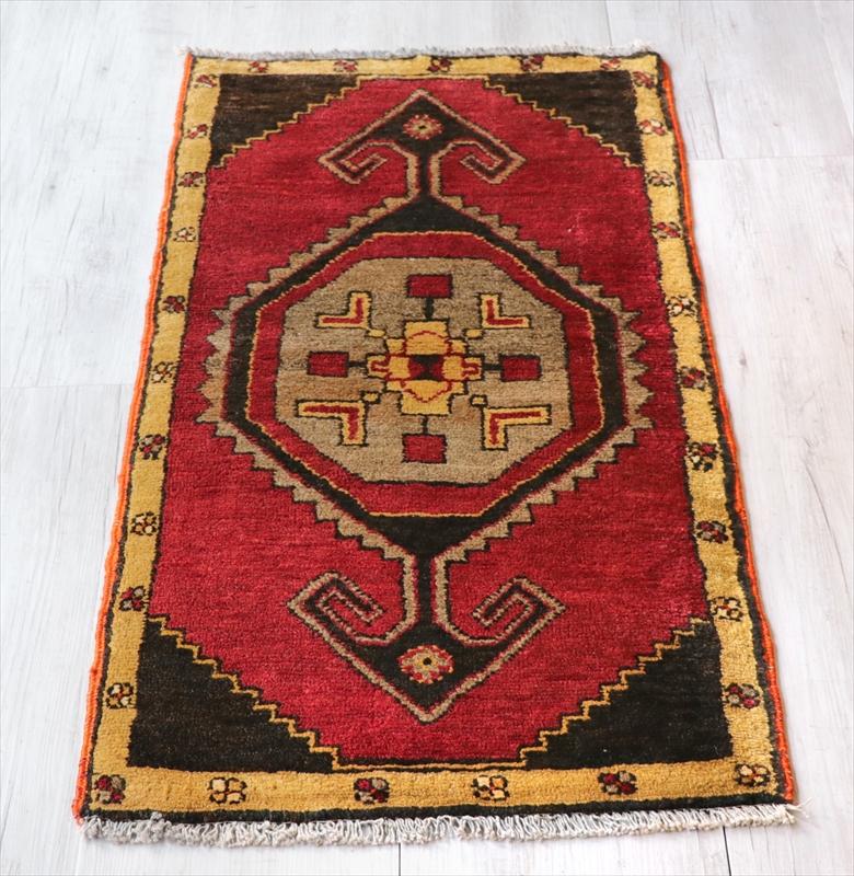 オールドカーペット トルコ絨毯/ヤストゥク102×52cmカルス地方・エリベリンデ