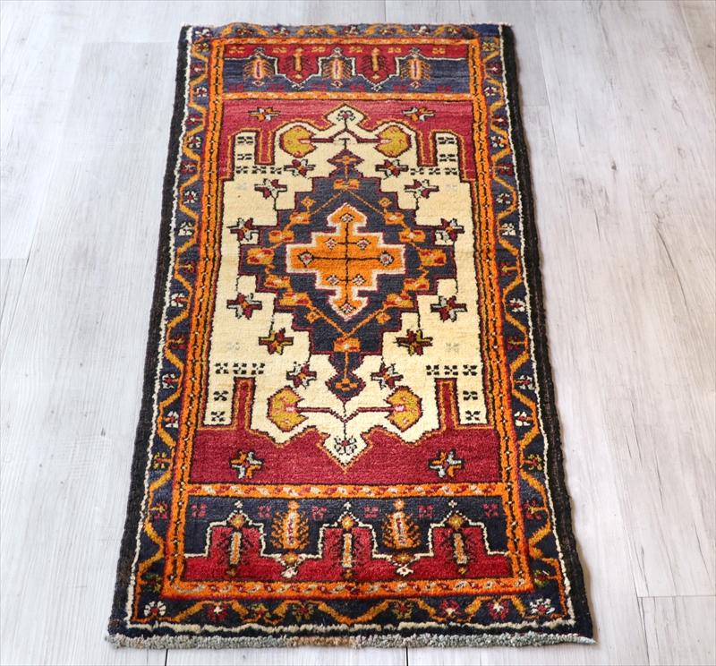 オールドカーペット トルコ絨毯/ヤストゥク114×47cmシワス地方 階段状のメダリオン