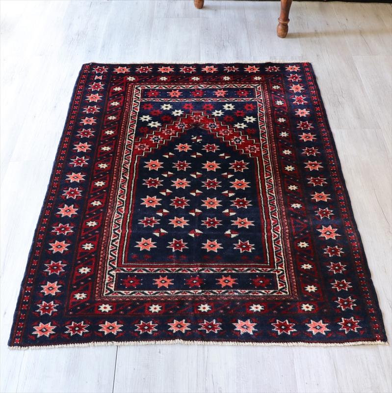 トルコ絨毯 エリアラグ/チェイレキ129×101cmソロモンの星のあるミフラープ