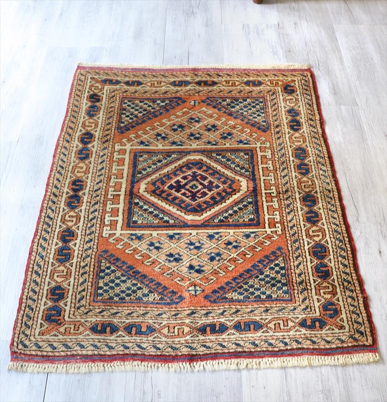 エリアラグ/トルコ絨毯/チェイレキ113×88cm色褪せたオレンジ&ネイビー