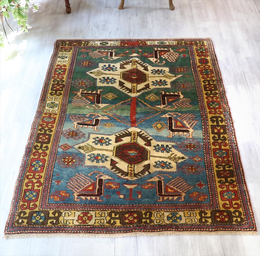 トルコじゅうたん・コンヤ草木染の手織りカーペット182×141cmコーカサス・シルヴァン地方のアンティークデザインを再現