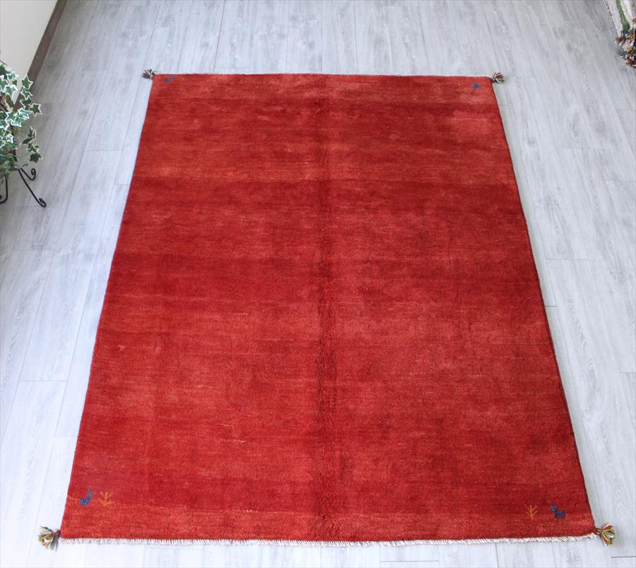 ギャッベ(ギャベ)カシュカイ族の手織りラグ・リビングサイズ233×170cmレッド・動植物のモチーフ