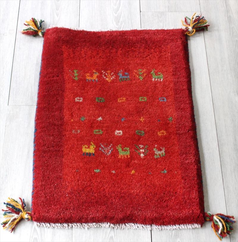 ラグ・ギャッベ(ギャベ)カシュカイ族の手織りラグ・ミニサイズ60x42cm レッド/レッド・動物と植物モチーフ