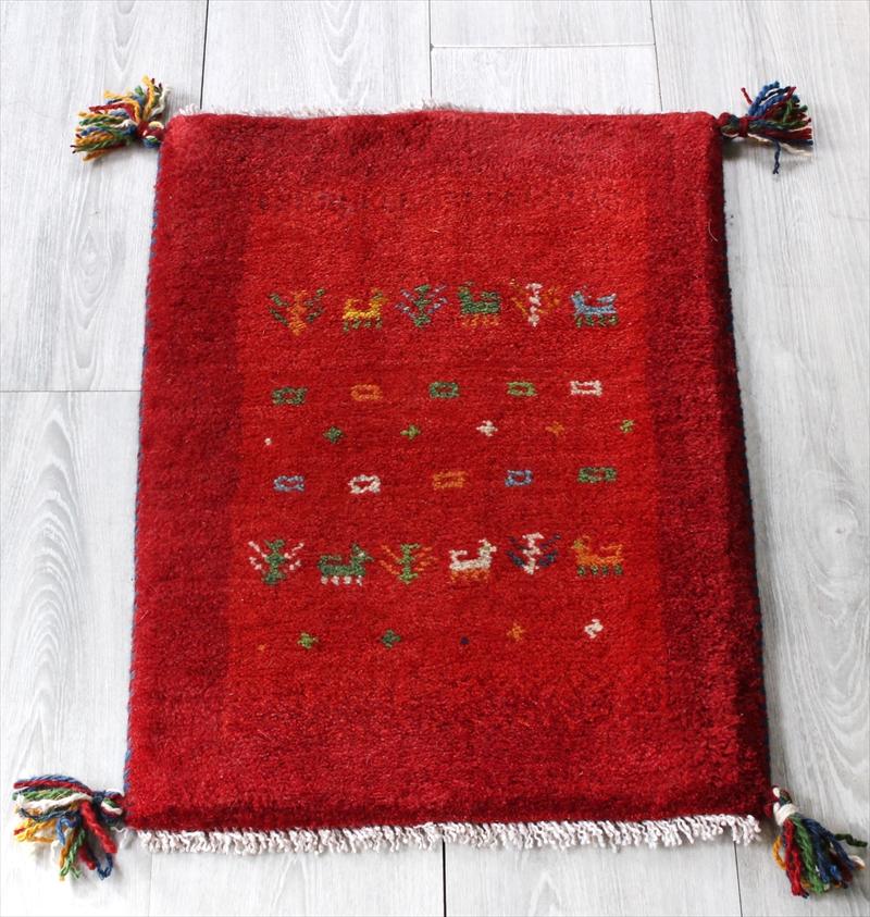 ミニ玄関マット・ギャッベ(ギャベ)カシュカイ族の手織りラグ・ミニサイズ61x42cm レッド/レッド・動物と植物モチーフ