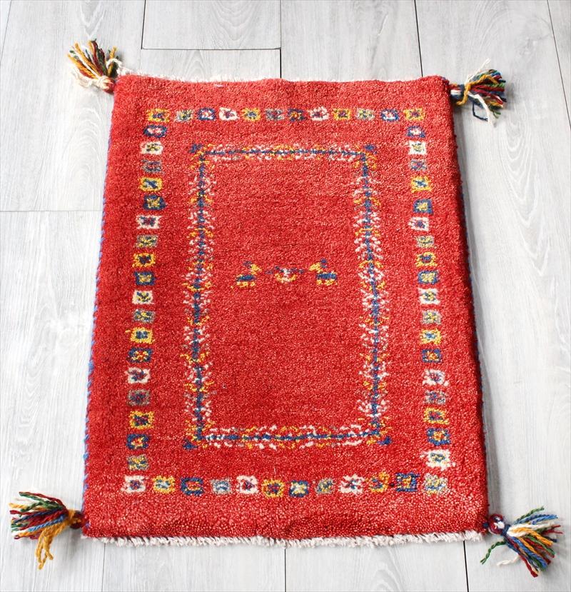 ミニ玄関マット・ギャッベ(ギャベ)カシュカイ族の手織りラグ・ミニサイズ60x44cm レッド・カラフルスクエア&リーフボーダー・動物と植物モチーフ
