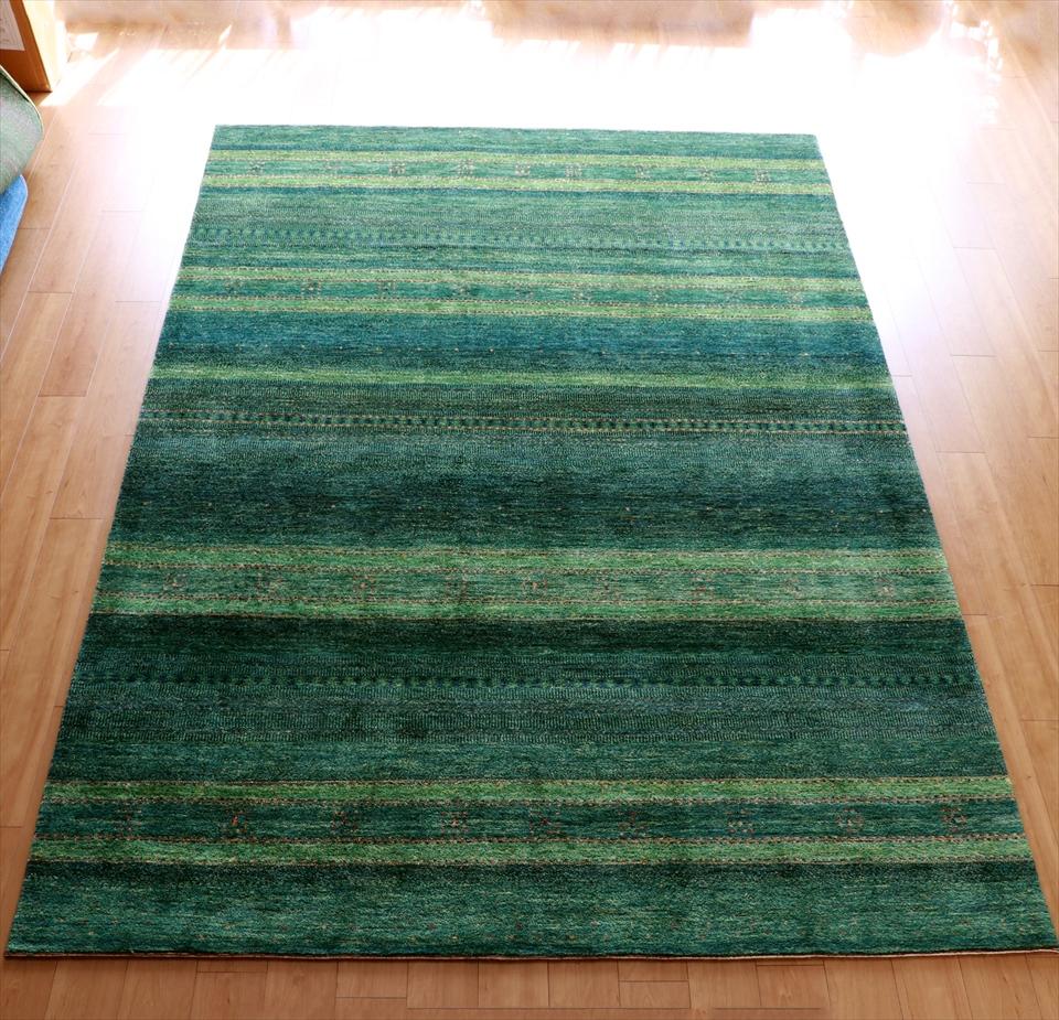 ギャッベ/ロリアタシュLoriAtash ギャベ 最上級の織り 大きい手織りラグ 大型ルームサイズ310x222cm グリーングラデーション ストライプ ボーダー 幾何学モチーフ