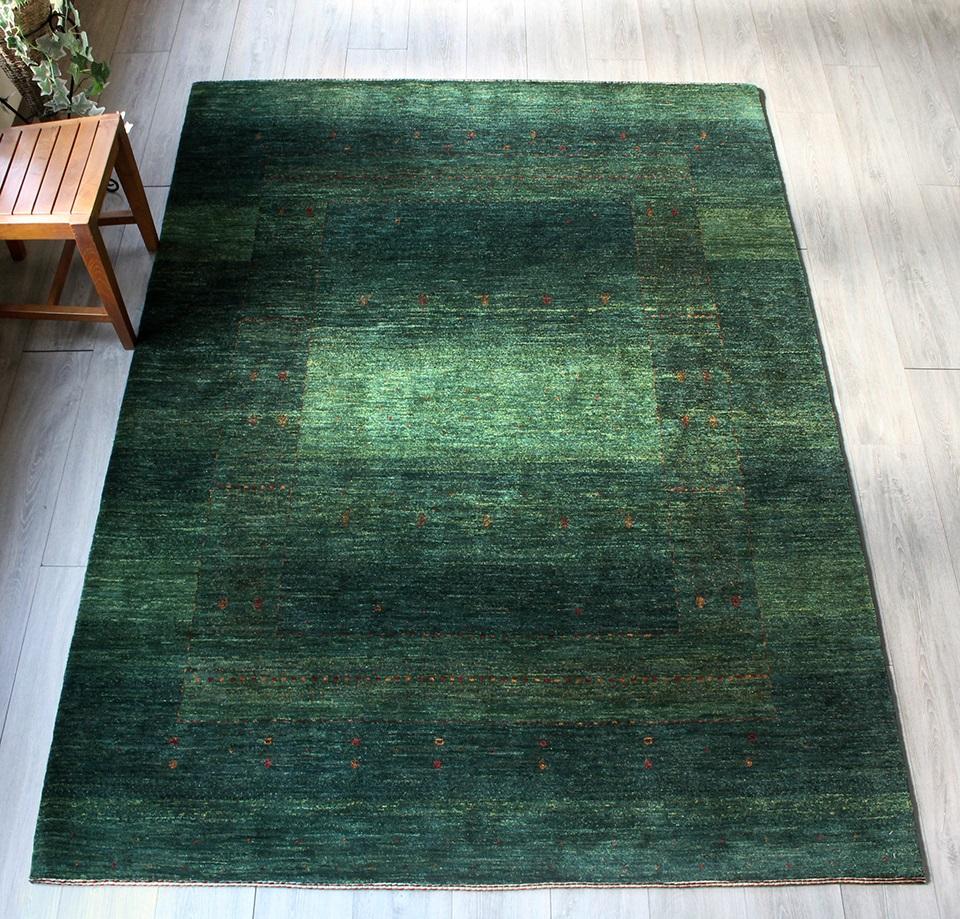 ギャッベ・イラン直輸入 ギャベ カシュカイ族最高級の織りLoriAtashロリアタシュ リビングサイズ235x172cm グリーン グラデーション 生命の樹