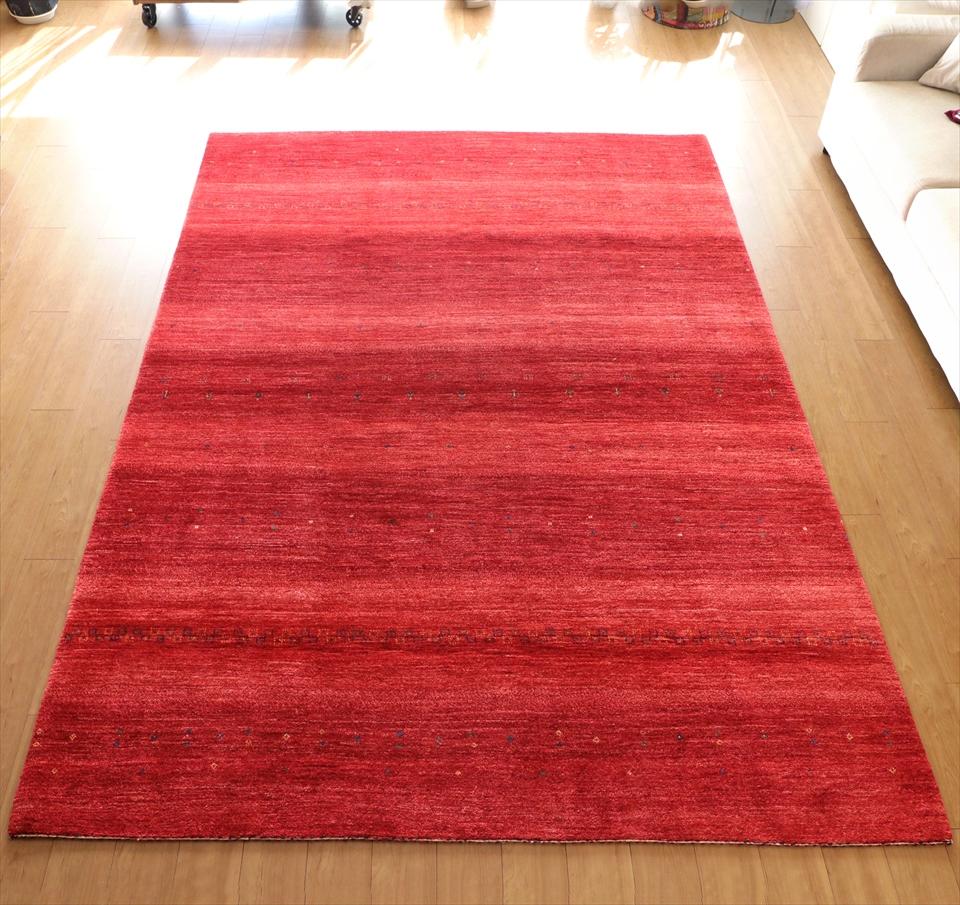 ギャッベ ギャベ ロリアタシュ LoriAtash・最高級の細かな織り・大型ルームサイズ298x217cm レッド・ストライプ ドット 植物のモチーフ