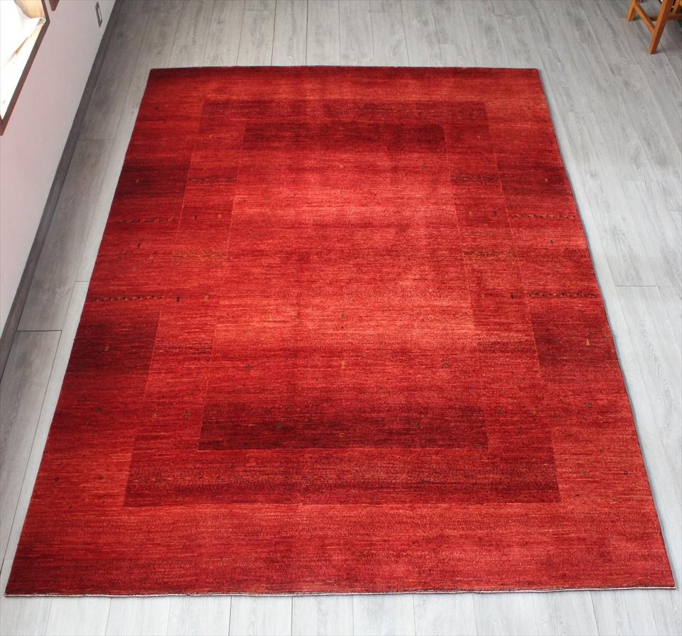 ギャッベ ギャベ ロリアタシュ LoriAtash・最高級の細かな織り・大型ルームサイズ288x207cm レッド・スクエアデザイン スクエア 植物のモチーフ