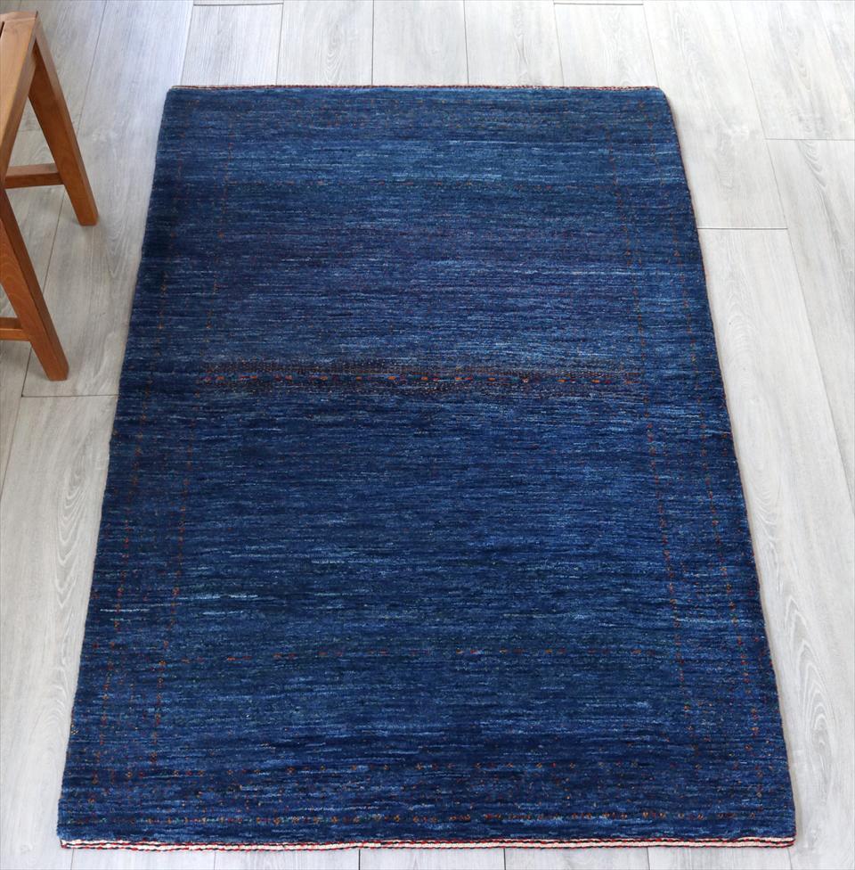 ギャッベ/ギャベ 玄関 カシュカイ族の手織りラグ・Banafsheh/バナフシェ・アクセントラグサイズ144x96cm ブルー・グラデーション・小花のモチーフ