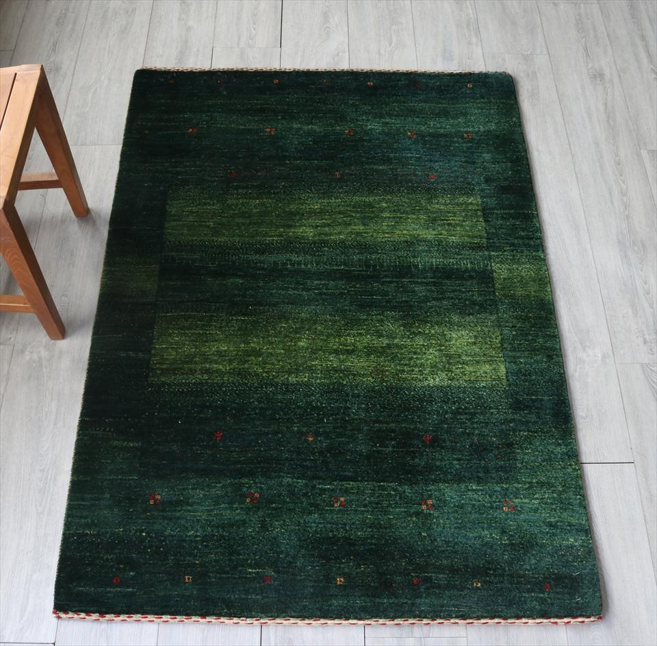 ギャッベ ギャベ 玄関 ロリアタシュ LoriAtash・最高級の細かな織り・アクセントラグサイズ142x100cm グリーン・スクエアデザイン スクエア 植物のモチーフ