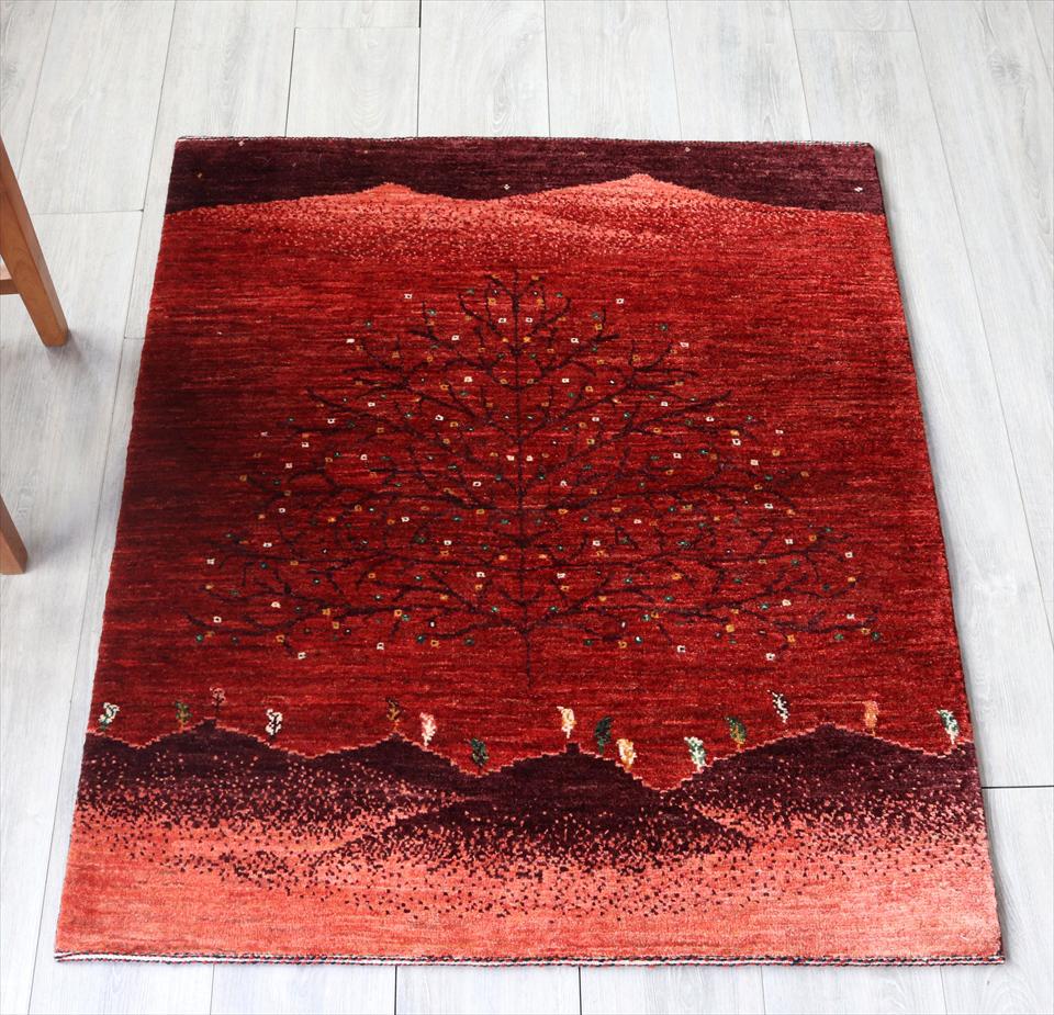 ギャッベ ギャベ 玄関 ノウバフ Nowbaft・細かな織り・アクセントラグサイズ116x97cm レッド・大きな生命の樹 自然風景