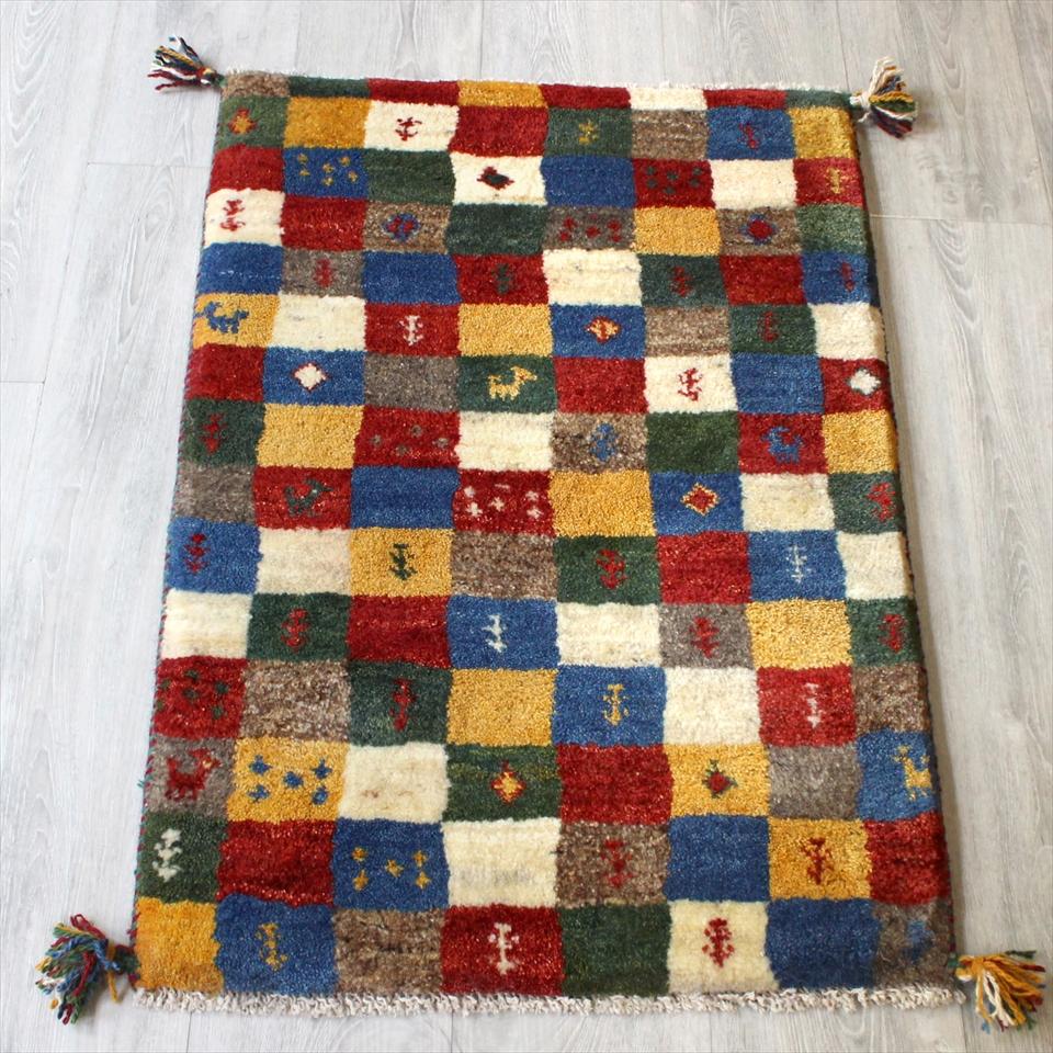 ギャッベ(ギャベ)カシュカイ族の手織りラグ・Gabbeh・玄関サイズ91x61cm カラフルタイル・幾何学・動物と植物モチーフ