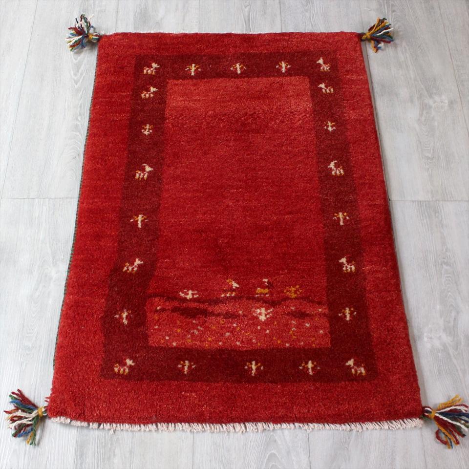 ギャッベ(ギャベ)カシュカイ族の手織りラグ・Gabbeh・玄関サイズ87x59cm レッド・ボーダーデザイン・自然風景 動物と植物モチーフ