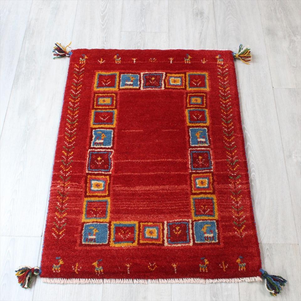 ギャッベ(ギャベ)カシュカイ族の手織りラグ・Gabbeh・玄関サイズ85x60cm レッド・カラフルスクエア 生命の樹・動物