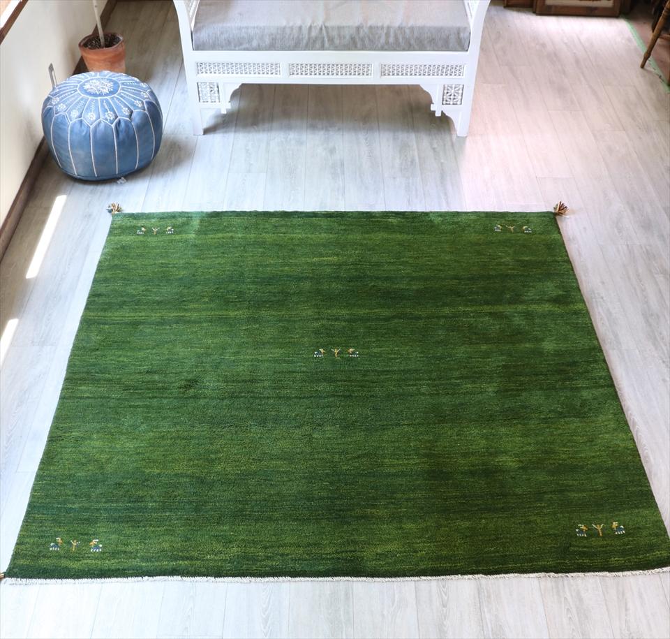 ギャッベ ギャベ 正方形 カシュカイ族手織り・厚みのあるリビングサイズ190x200cm グリーン・動物と植物モチーフ