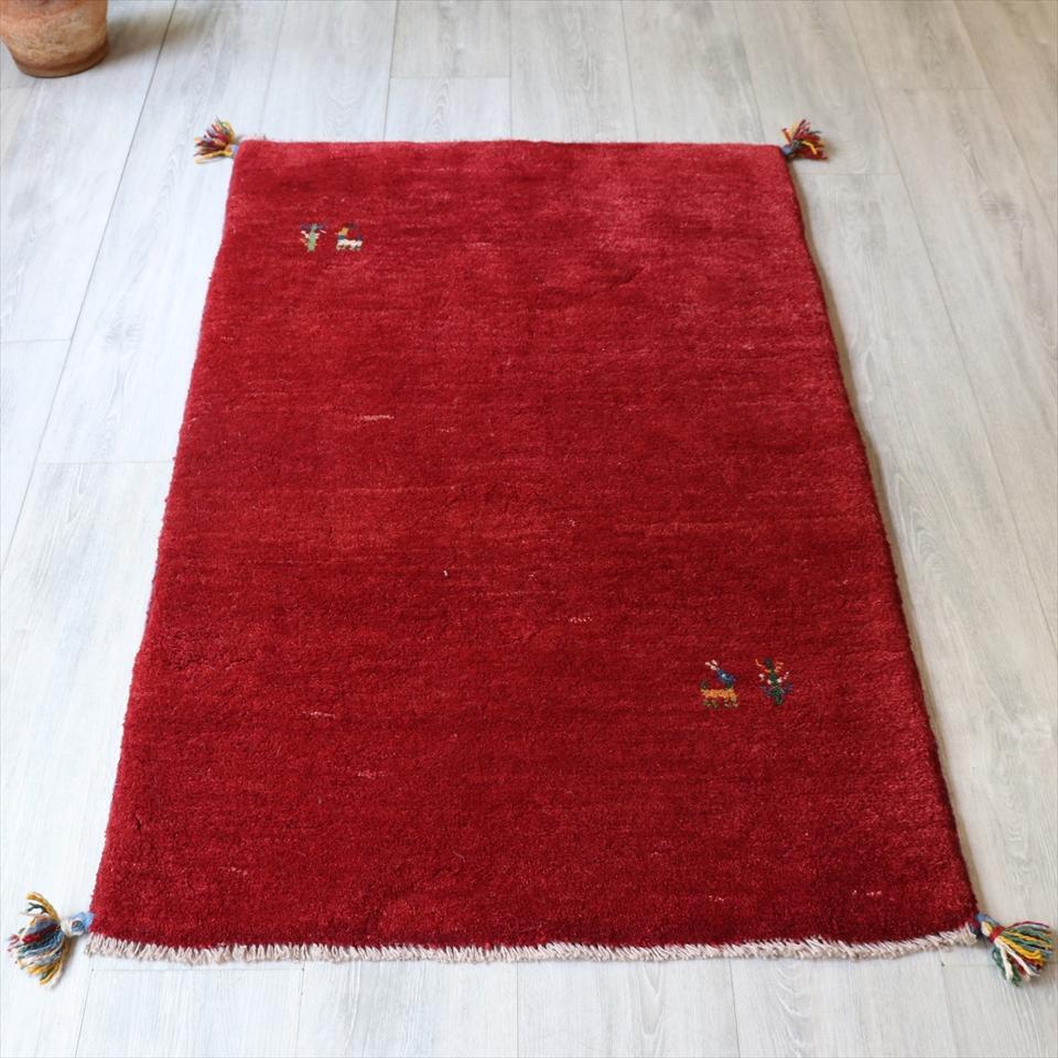 ラグ 玄関マット カシュカイ族の手織り絨毯・ギャッベ(ギャッベ)/アクセントラグサイズ126x80cm レッド・動物と植物モチーフ