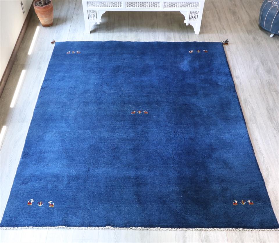 ラグ・ギャッベ(ギャベ)カシュカイ族の手織りラグ・大型サイズ252x203cm ブルー・動物と植物モチーフ