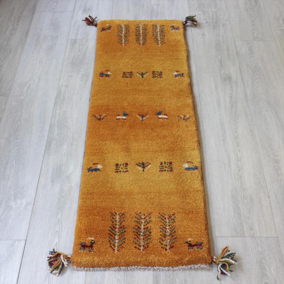 ギャベ ギャッベ カシュカイ族の手織りラグ・細長ランナーサイズ121x40cm イエロー・動物と植物モチーフ
