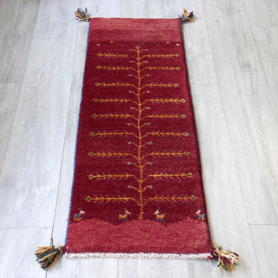 ギャベ ギャッベ カシュカイ族の手織りラグ・細長ランナーサイズ113x40cm レッド・生命の樹・動物と植物モチーフ