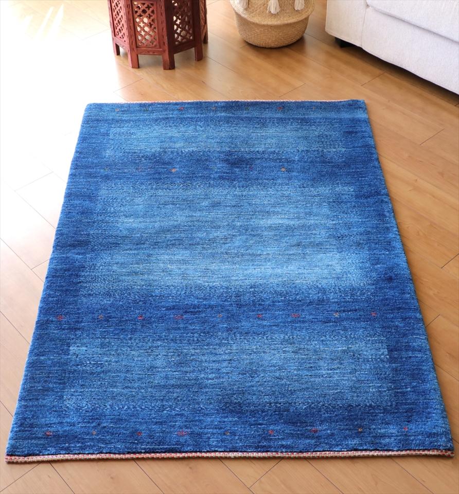 ギャッベ ギャベ カシュカイ族の手織りラグ最上級の織り・ロリアタシュ・アクセントラグサイズ143x103cm ブルー グラデーション・生命の樹と花モチーフ