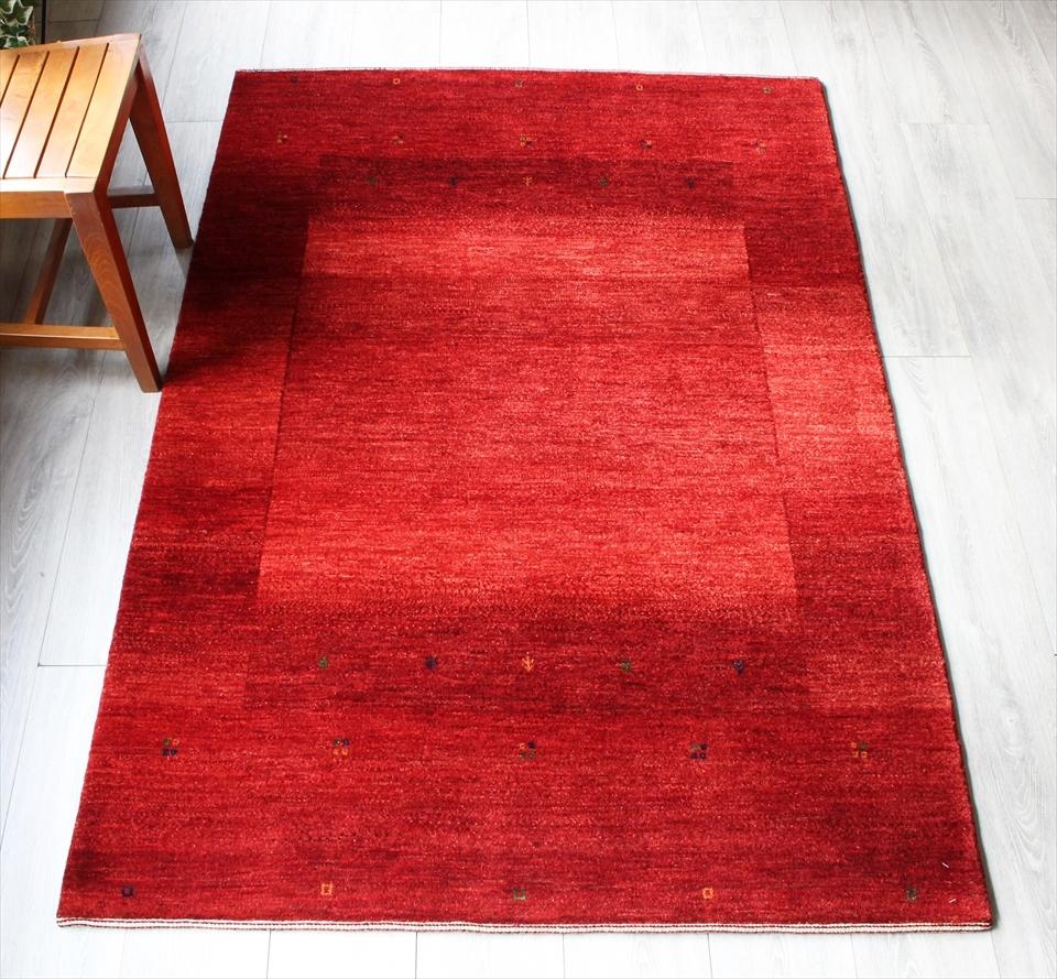 ギャッベ ギャベ カシュカイ族の手織りラグ最上級の織り・ロリアタシュ・センターラグサイズ174x119cm レッド グラデーション・スクエアデザイン