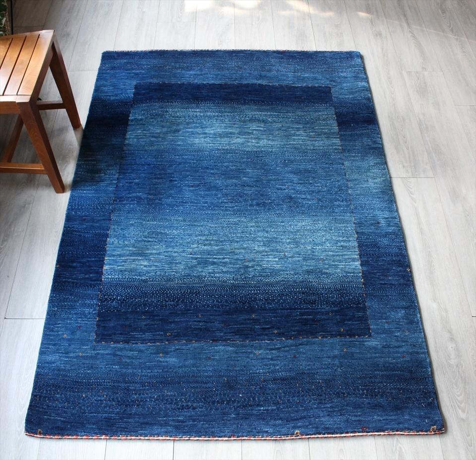 ギャッベ ギャベ カシュカイ族の手織りラグ最上級の織り・ロリアタシュ・センターラグサイズ170x117cm ブルー・グラデーション・スクエアデザイン