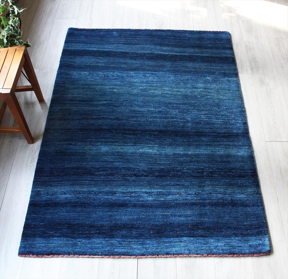 ギャッベ ギャベ カシュカイ族の手織りラグ最上級の織り・ロリアタシュ・センターラグサイズ177x125cm ブルーグラデーションストライプ