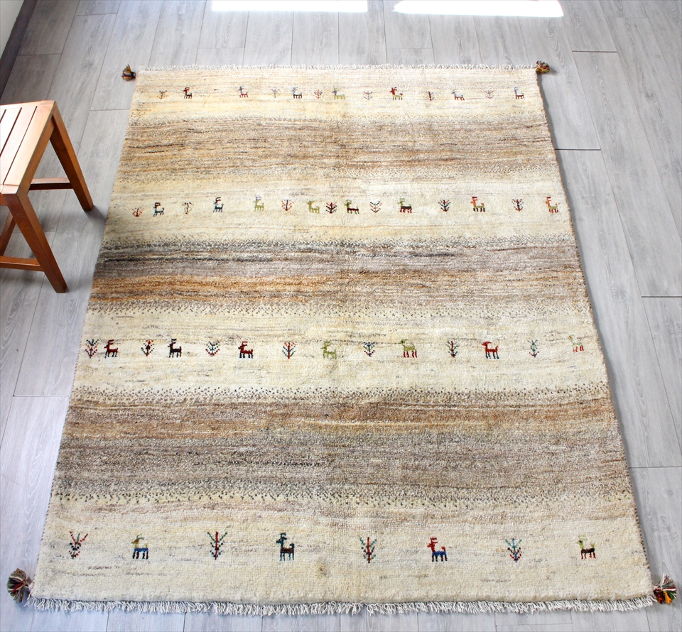 ギャッベ(ギャベ)カシュカイ族の手織りラグ・センターラグサイズ199x151cm ナチュラルアイボリー・ブラウン・グレーグラデーションストライプ