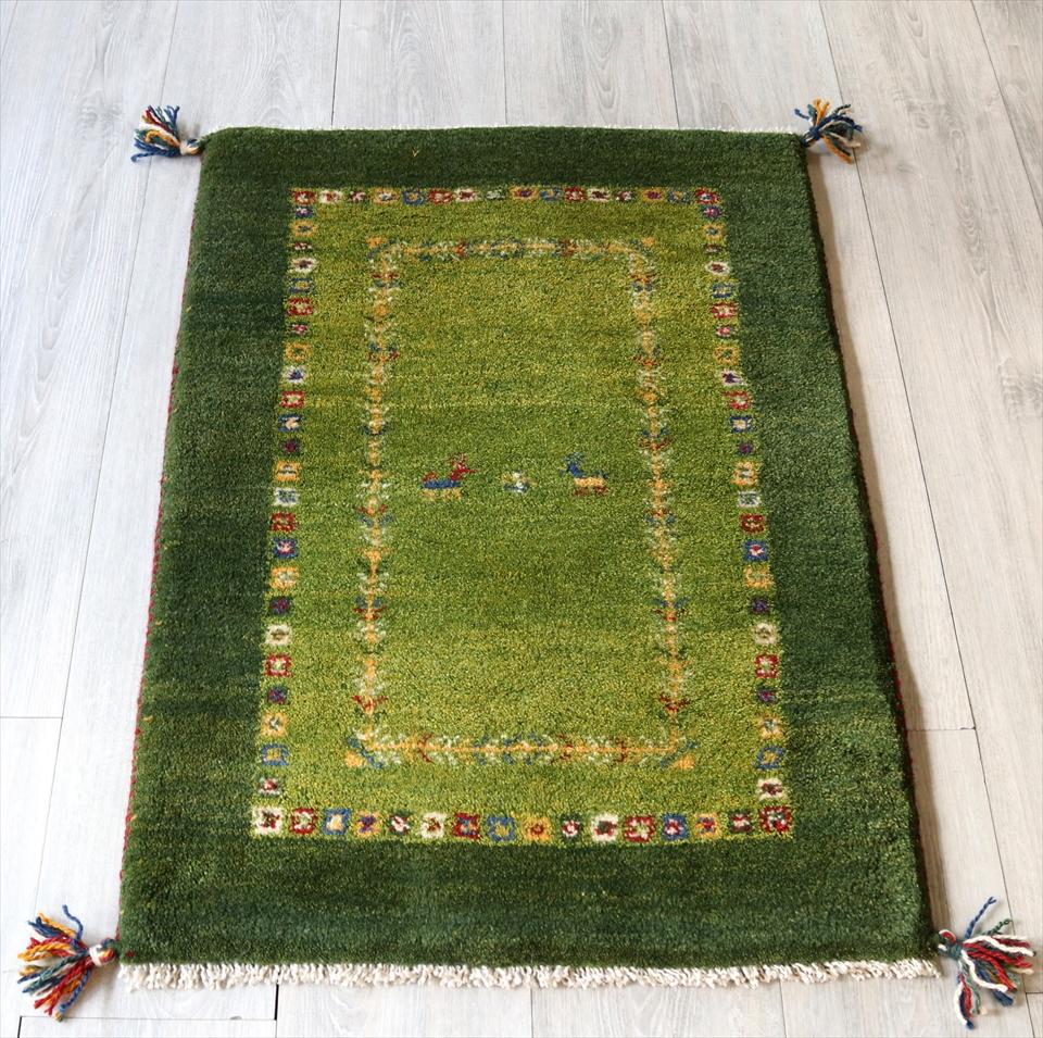 ラグ・ギャッベ(ギャベ)カシュカイ族の手織りラグ・玄関マットサイズ90x63cm グリーン/グリーン カラフルタイル・動物と植物モチーフ
