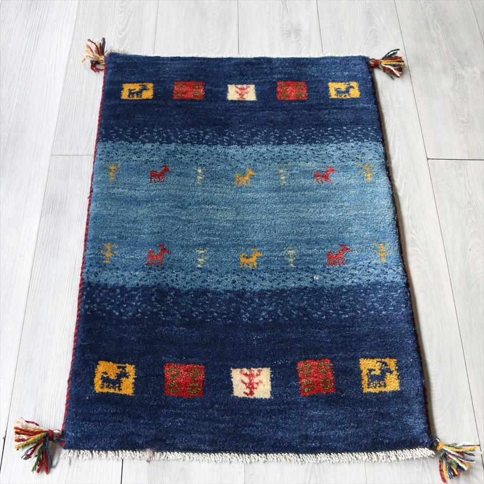 ラグ・ギャッベ(ギャベ)カシュカイ族の手織りラグ・玄関マットサイズ88x60cm ブルーストライプボーダー・カラフルスクエア・動物と植物モチーフ