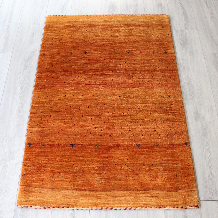 ギャッベ ギャベ Gabbeh ロリアタシュ/アクセントラグサイズ138x90cm オレンジグラデーション 木のモチーフ ブルー&レッド&グリーン