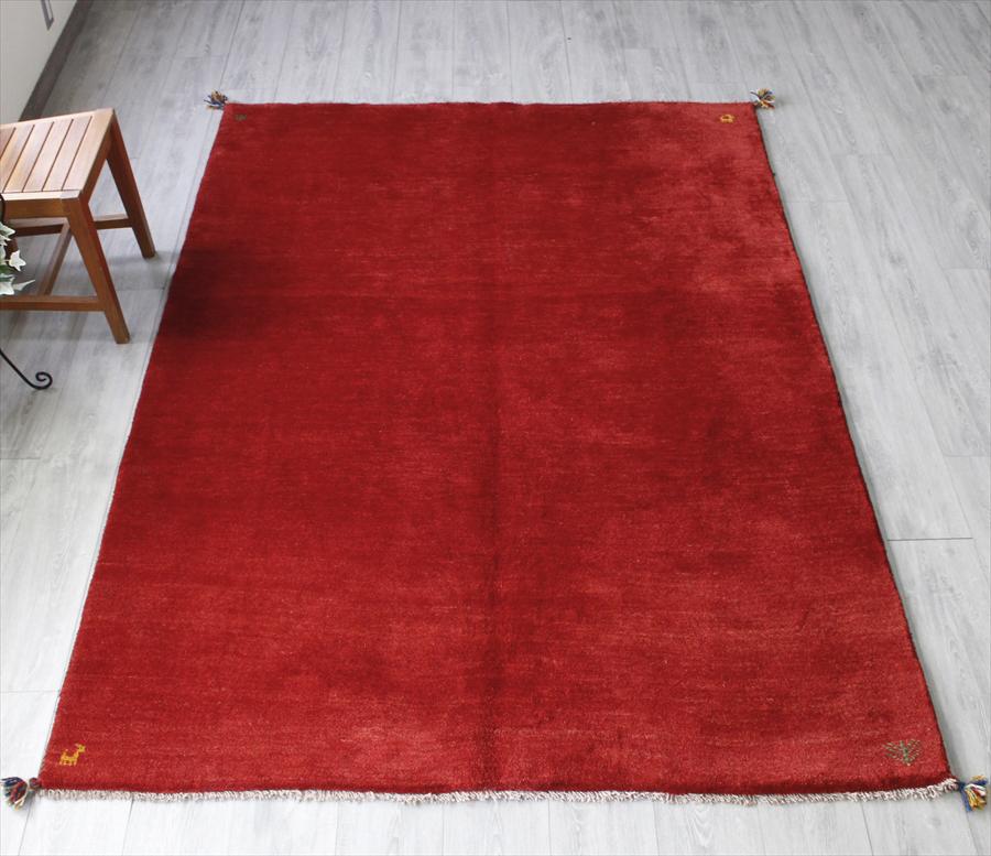 ギャッベ(ギャベ)カシュカイ族の手織りラグ・リビングサイズ232x165cm レッド・動物と植物のモチーフ